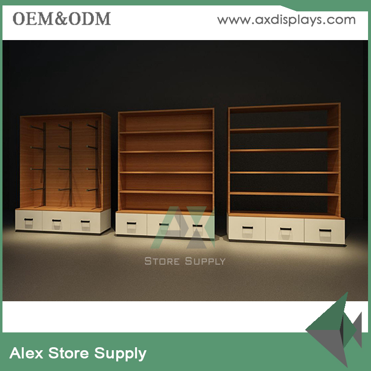 Low cost cloth showroom interior design display shelf for apparel