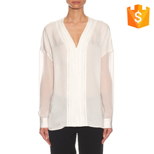 Women latest pleated neckline and placket designer blouse back neck designs