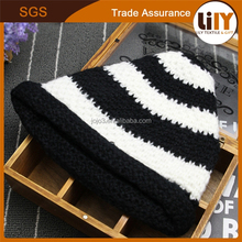newest custom black and white stripe knitted hats cap and hat making machines crochet baby hat