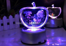 Crystal apple christmas gifts with led light base and home decoration