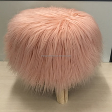 faux fur wood stool pouf ottoman foot rest