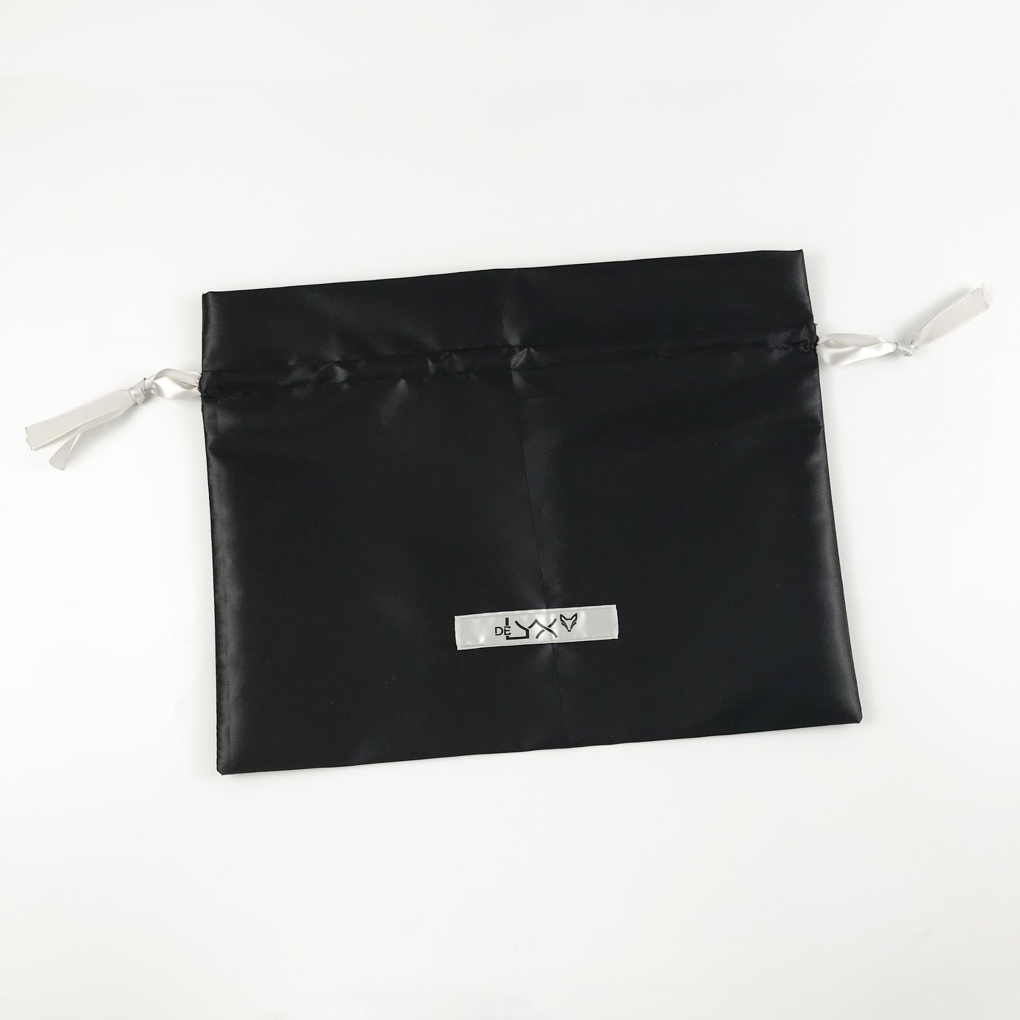 Luxury custom logo satin gift drawstring packaging bag