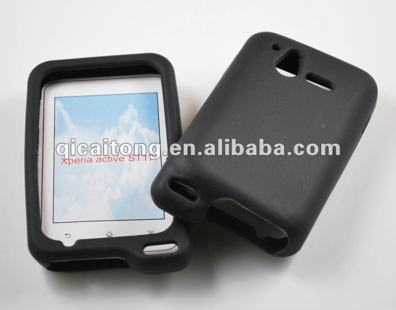 custome silicon double colors case for sony ericsson xperia mini pro sk17i