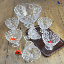 Special offer New design 7pcs glass ice dessert fruit footed sunflower bowls set
