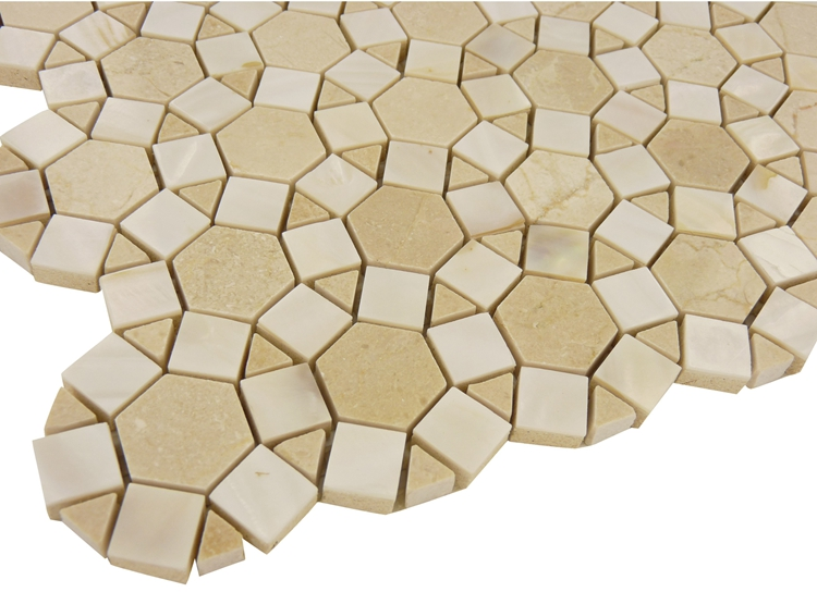 Decorstone24 High End Shell Mixed Stone Crema Marfil Sunflower Marble Mosaic Tile Pattern For Backsplash Decoration