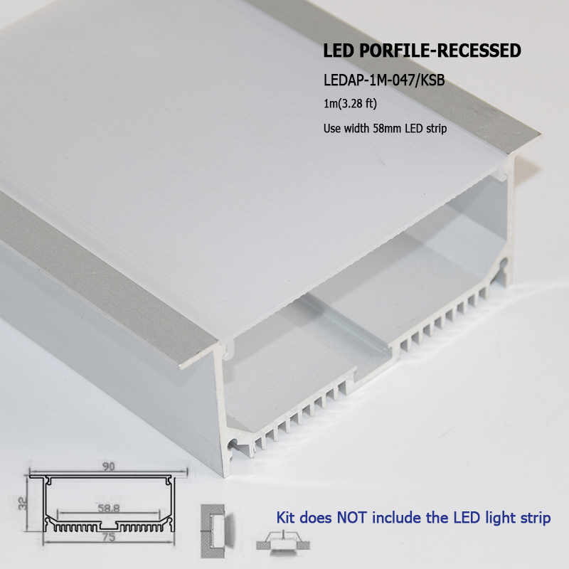 big size recessed aluminum led profile with flange and heat sink for multi row led strip 5630 5050 with mounting clip