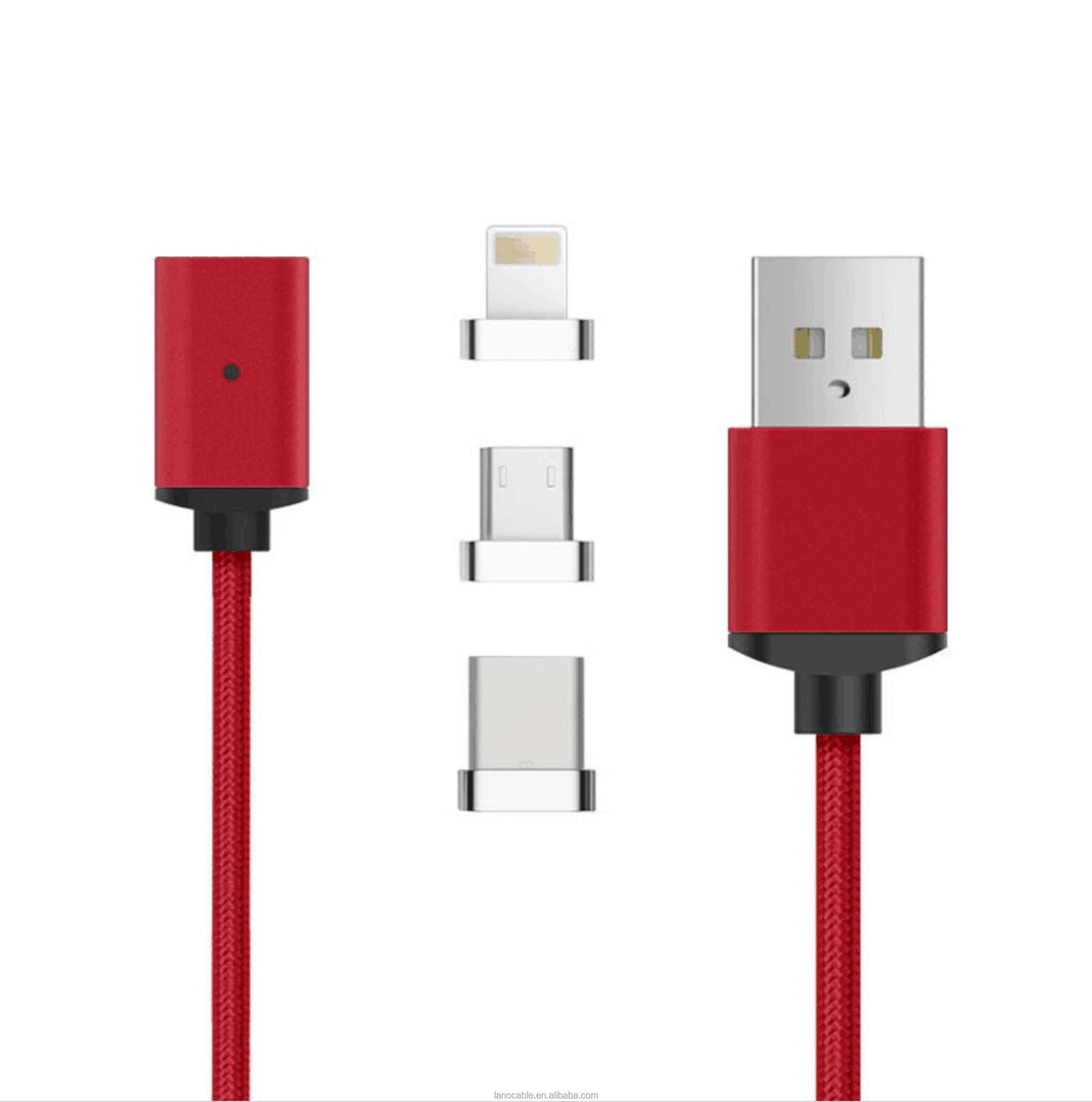 3 in 1 magnetic usb 2.0 cable magnet multi charger data cable