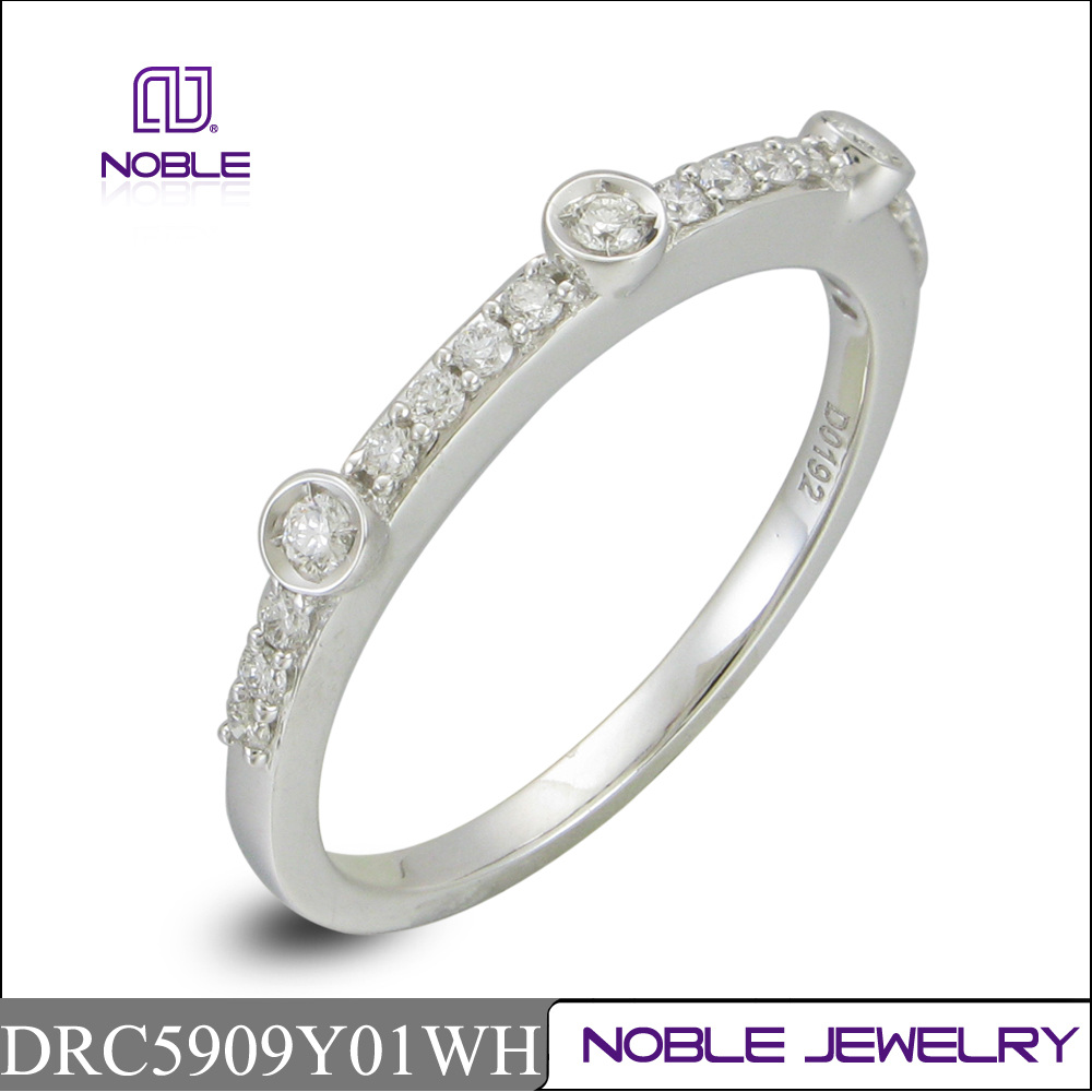 18K white gold real diamond wedding ring