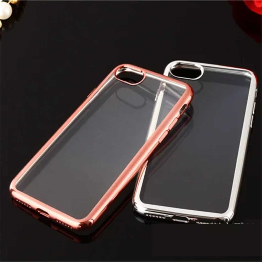 For iphone 7 Electroplating Bumper Soft Clear Ultra-Thin TPU Phone Case For Apple iphone 7 TPU Case Cover