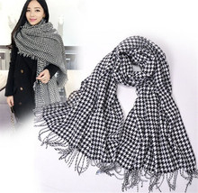 Hot New Fashion Classic Style Autumn Winter Plaid Patchwork Tassel High Quality Black White Scarves Shawl
