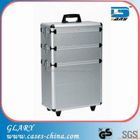 Silver aluminum 4 in1 makeup beauty trolley case