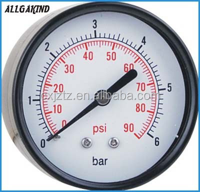 Y63ZR General Pressure Gauge Manometer With Black Case PC window in back mount