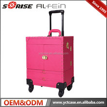 Professional hard makeup cosmetic trolley rolling case