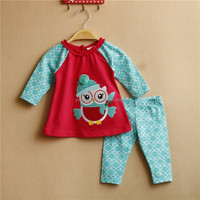 Little Girls Fashion New Brand Design Clothing Supplier China Cute Owl Cotton Legging Boutique Outfit Summer Baby Girl Clothing