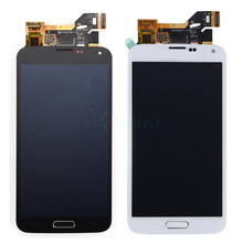 Black White For Samsung Galaxy S5 i9600 G900 G900F LCD Display Touch Screen Digitizer Assembly With Menu Button