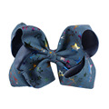 New arrival 7 Inch Denim Print Star Hair Bows