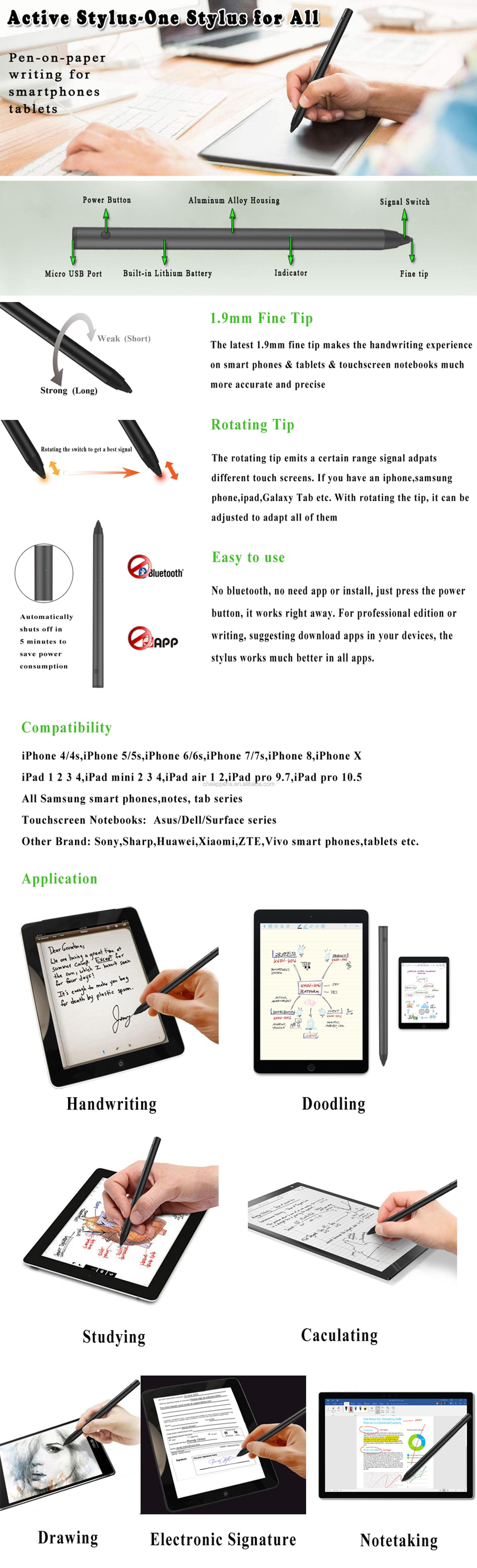 active stylus - one stylus for all pen on paper writing for smartphone tablets