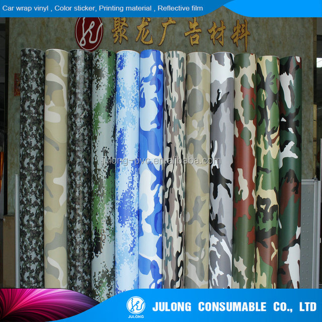 colorful car wrap vinyl film/camouflage car sticker more 12 colors