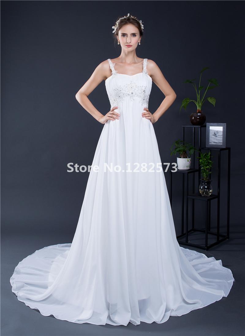 In Stock White Empire Wedding Dress Spaghetti Straps Beaded Ivory ...
