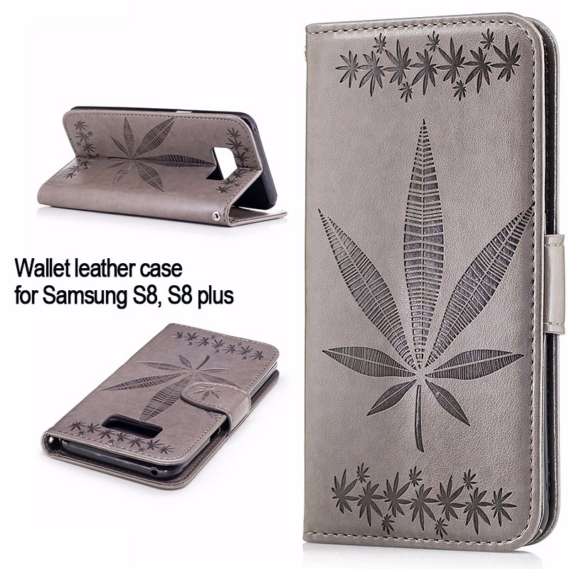 Mobile <strong>phone</strong> cover for samsung galaxy s8 wallet leather stand case embossing maple-leaf pattern case for samsung galaxy s8