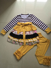 Striped Top Dress and Pants Leggings Outfits Fashion Sport Cotton Baby Girls Kids Clothes
