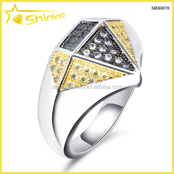 high quality colored cz pave rhodium plating 925 sterling silver jewelry