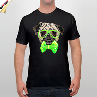 Cute Bulldog Print T shirt Basic O neck Print Black T-Shirt for Men