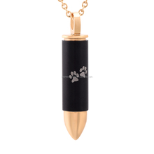 IJD9833 Pet Two Tone Stainless Steel Bullet Crematio urn Pendant Engraved Double Paw Print Memorial keepsake jewelry for ashes