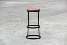 Triumph Round design high bar stool / solid wood top counter stool / metal stool for cafe