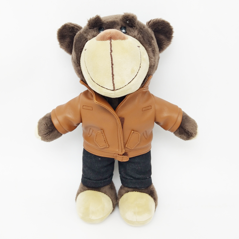 Good Quality Teddy Bear Plush Toys Animal with A PU Leather Coat Popular Toys