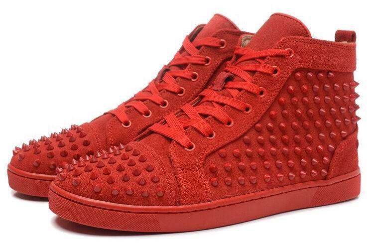 4d8fcf55837c Get Quotations · Size 36-46 Men Women red Suede With Spikes rivet Lace Up  High Top