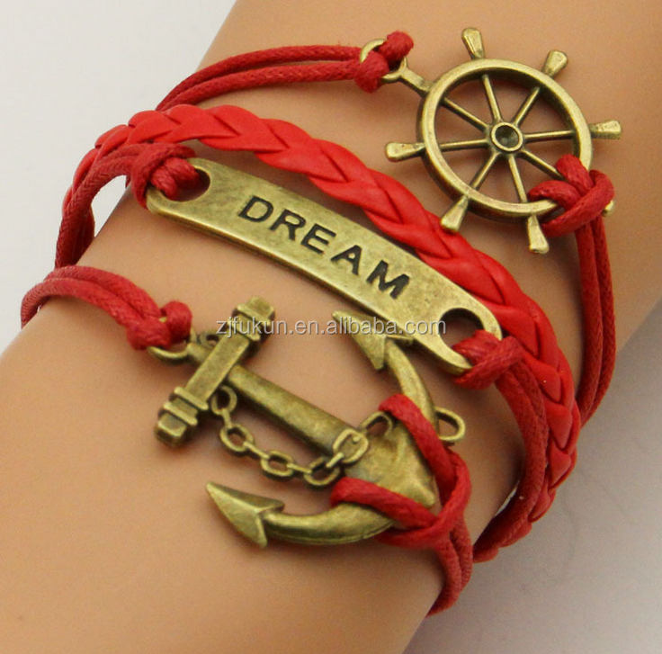antique bronze anchor & dream & rudder charms braided red pu leather and waxed cord bracelet