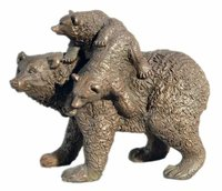Bronze mother and babies bear statue