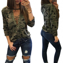 Top Selling Products 2017 Women Lace Up Long Sleeve Camouflage Printing T Shirt