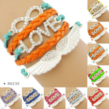 Best Selling Products Friendship Love Angel Wings Charm Wrap Bracelets Band for Girls