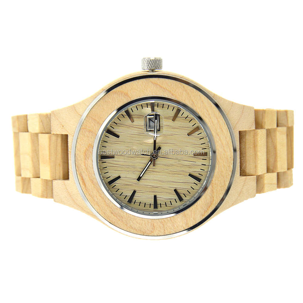 2017 Latest Customer's Design Wooden Case Wristwatches Japanese Movement Chicken Winge Wood Watch With butterfly buckle