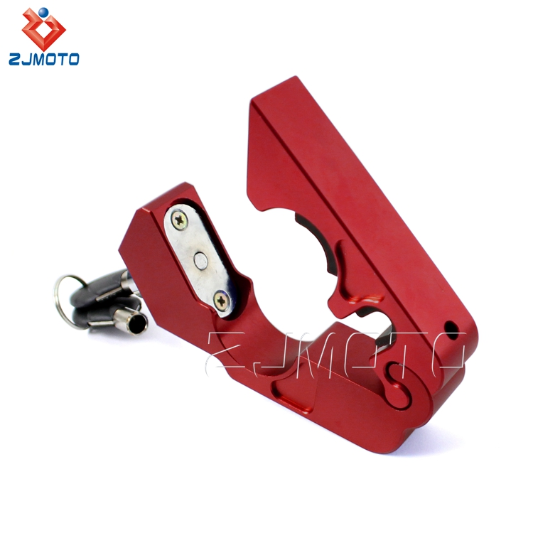 ZJMOTO High Quality CNC Aluminum Red Motorcycle Brake Lever Handlebar Lock For Sale