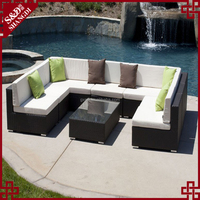 SD Garden rattan woven sectional sofa set outdoor patio furniture