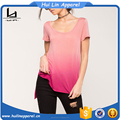 Custom wholesale clothing round neckline ombre tank t shirt t shirt for women casual