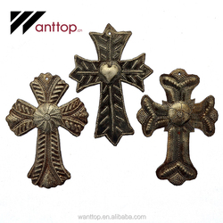 Round 4*6 Small Metal Crosses Custom Christian Cross For Decoration