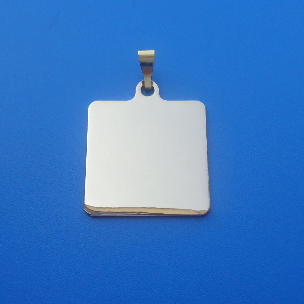 Rectangle shape glossy silver blank logo metal brass tag pendant for sublimation