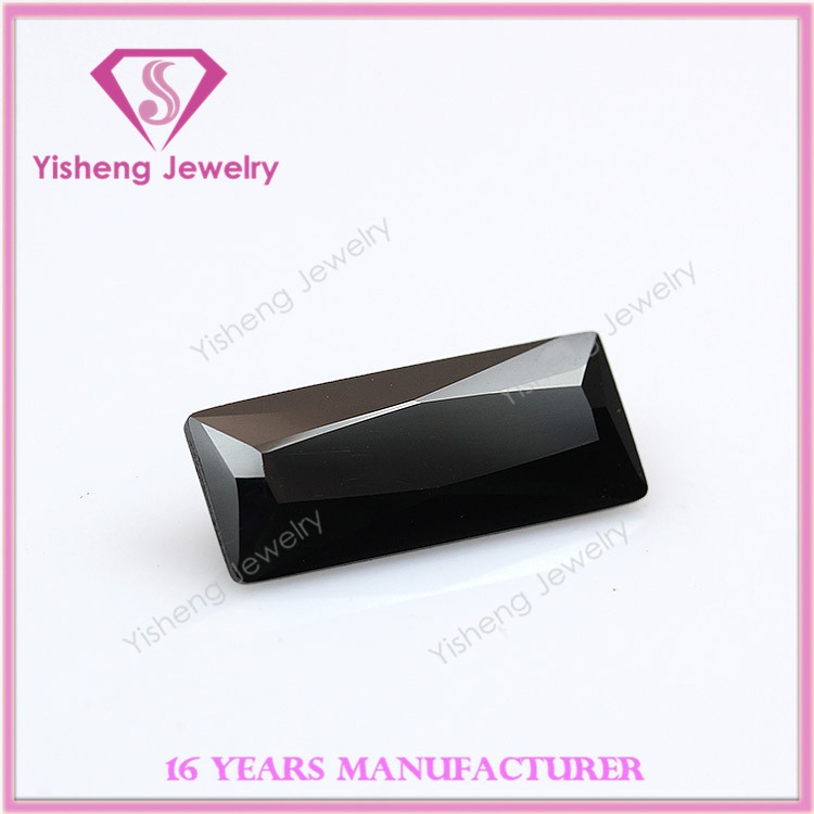 Rectangle Loose Sharp Bottom Faceted Cut Synthetic CZ Black Tourmaline Stone Price
