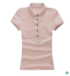High quality pure pink girls button polo sports t -shirt with pocket factory direct sale china