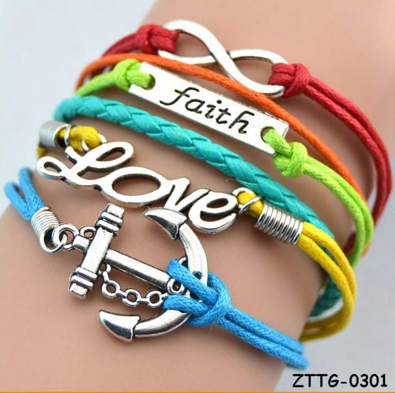 2017 Mode Anchor Charm Bracelet En Cuir Yiwu