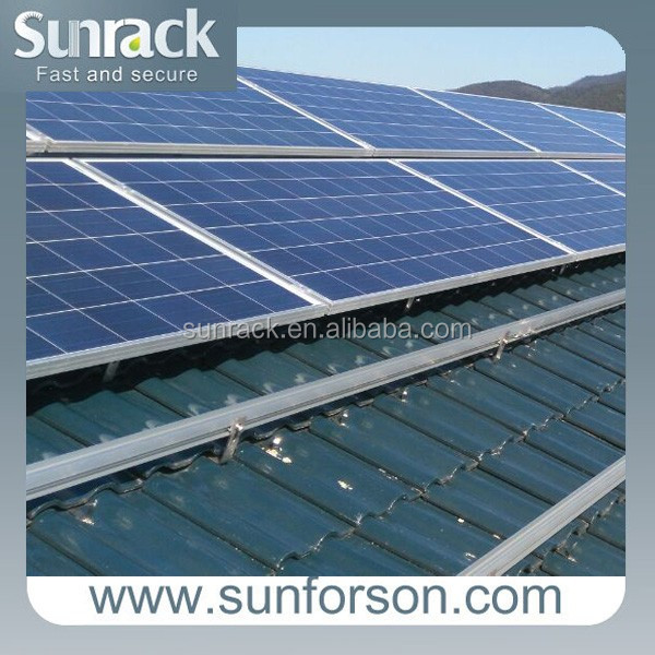 home pitched tile roof aluminum solar mounting system