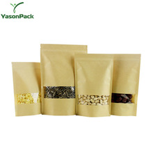 Window Ziplock Christmas Food Printed Brown Custom Kraft Paper Packaging Bag