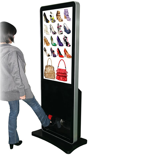 high brightness 42 inch digital signage media player with shoe polisher