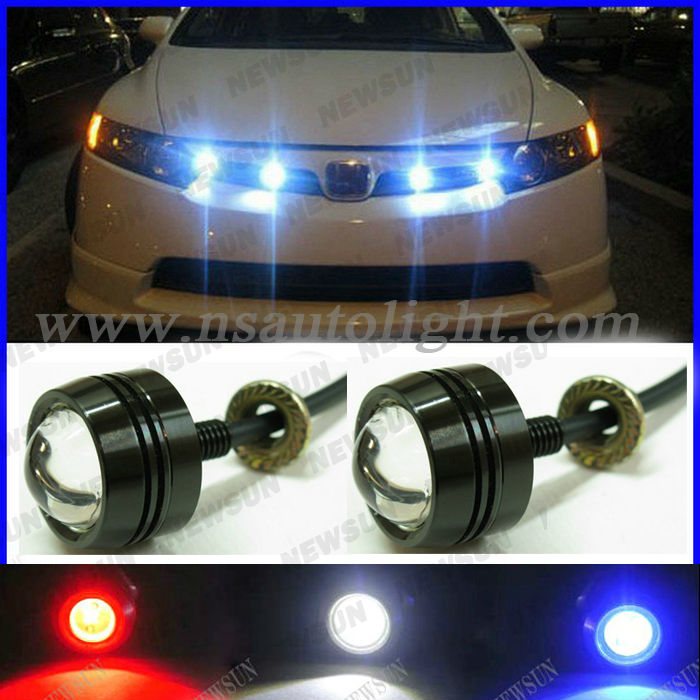Auto Daytime Running Light 3W silver/black color LED Eagle Eyes Headlight 12V 3W