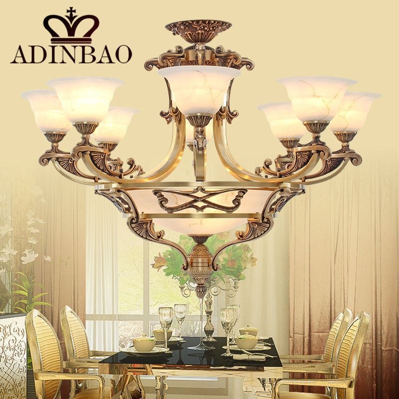 European style Copper Glass Chandelier led light 8002-8