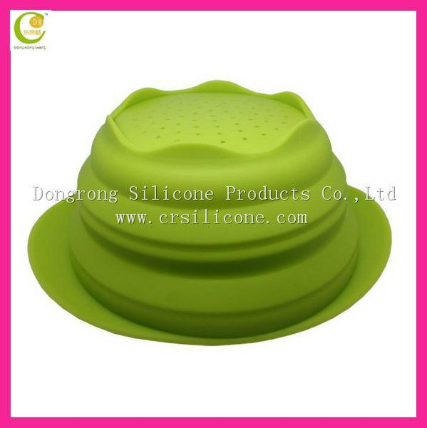 Newest Non-Smell Food Grade Unbreakable Microwave Safe Green Color Silicon Rubber Collapsing Bowl
